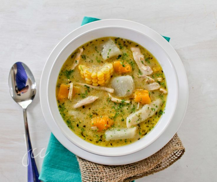 Caribbean Chicken Soup and Parsley Dumplings. Made this last night, even though it was 95 degrees outside. Totally worth it. SO GOOD. I used butternut squash and gold potatoes.