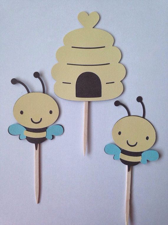 Bumble Bee Cupcake Toppers  Bee Hive Cupcake by KincadesCrafts