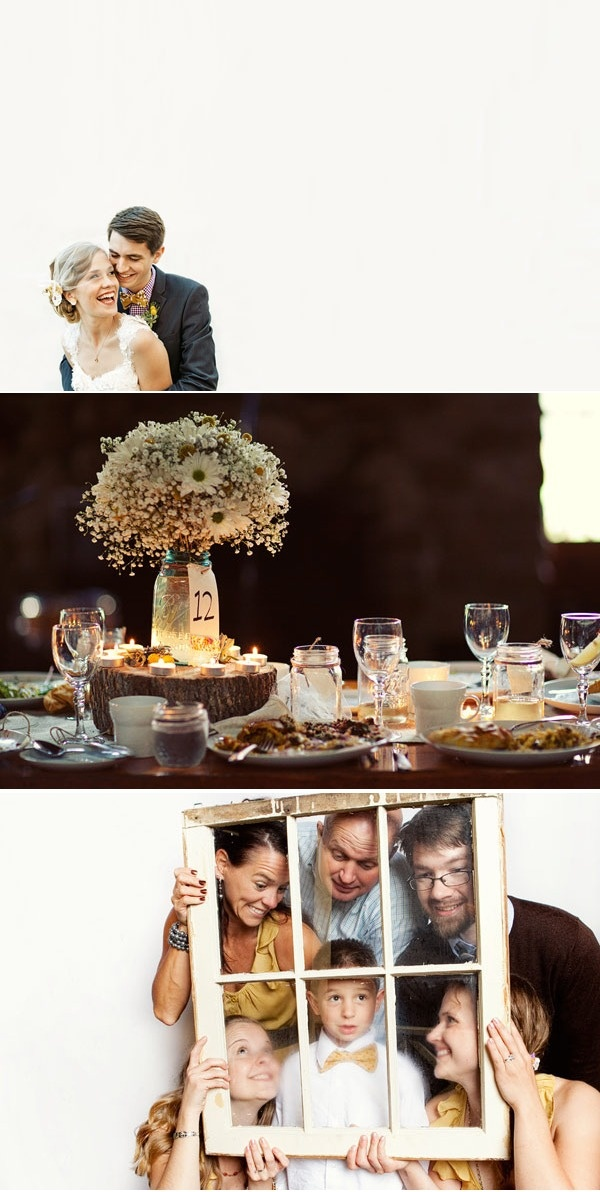 Liking the wood centerpieces with the flowers.