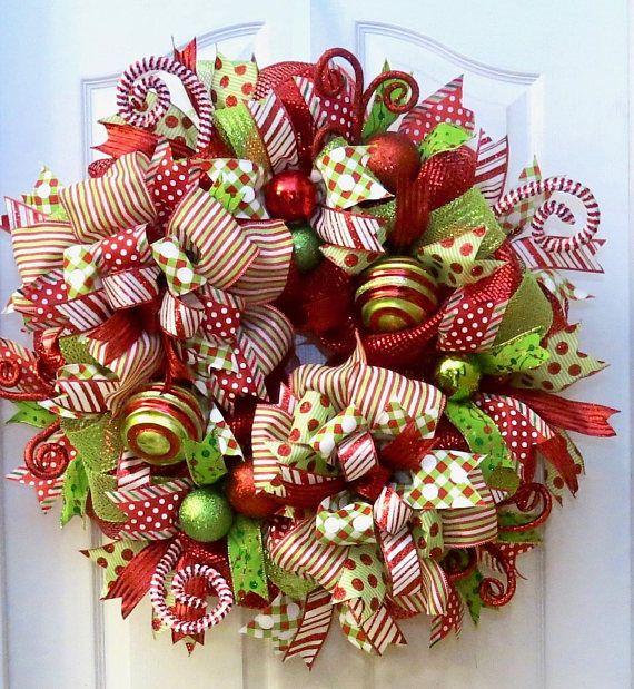 Christmas Wreaths for front door Deco Mesh Christmas Wreath