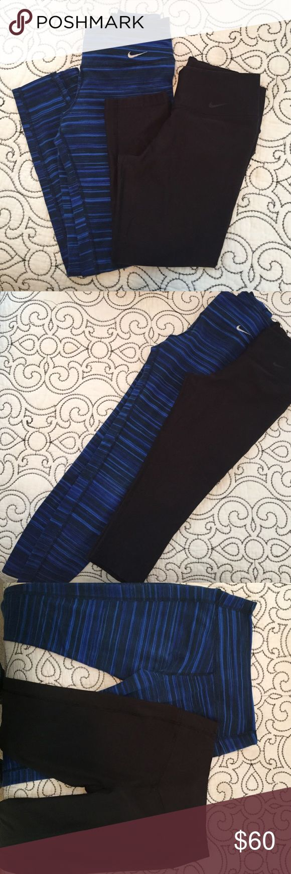 Nike pant bundle One black Nike dri-fit capri pant and one Nike Dri-fit  blue and black ankle pant. Both smalls. Minimal wear. Slight fade in the blue on the ankle pants. Always received compliments. Nike Pants Ankle & Cropped