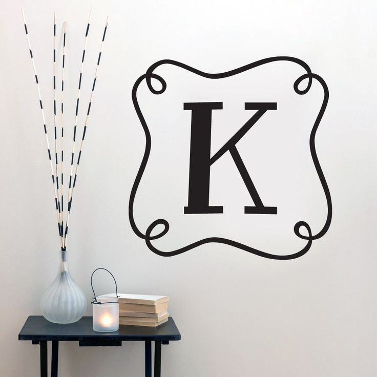 Custom curly frame monogram wall decals wall stickers