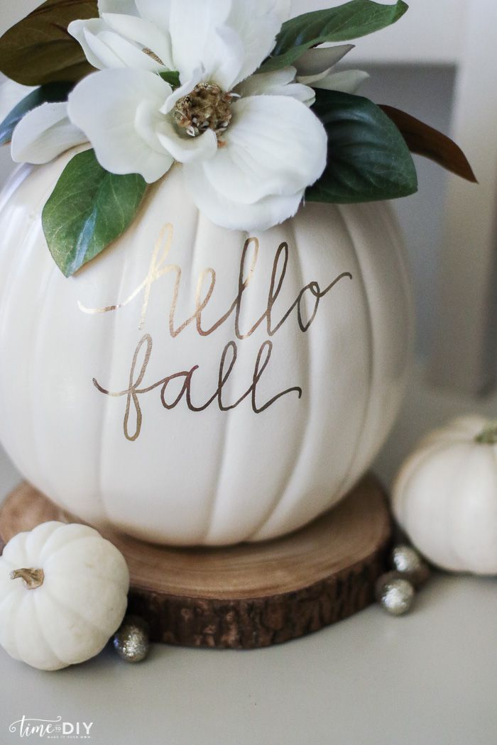 DIY Faux Magnolia Pumpkin | Such a cute fall pumpkin home decor craft! Love this hello fall pumpkin decor! Cute fall decor! (Dollar Store Halloween Games)