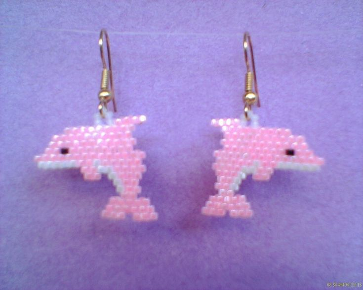 Pink+Dolphin+Earrings+Brick+Stitch+Delica+Seed+Beads+by+Beadedforu,+$15.00