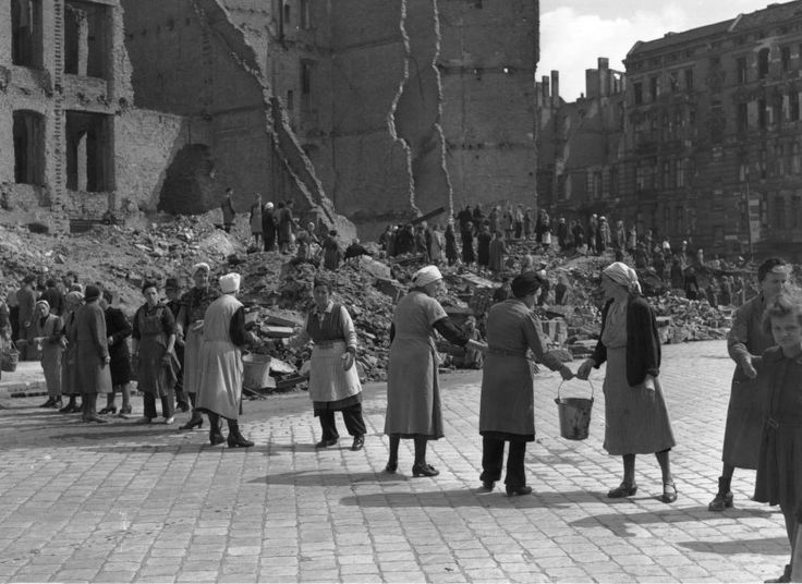 """Berlin lies strewn about, Dust blows up, then a lull again… the great rubble woman will be canonized…"" (Günter Grass).  Berlin, December 1948: With German cities in ruins after World War II and the country's male population decimated, it fell to the women to clean up the rubble. The so-called ""Trümmerfrauen,"" or ""rubble women,"" worked with their bare hands and whatever tools they could find. Allied orders required women between the ages of 15 and 50 to report for duty. Click through to…"