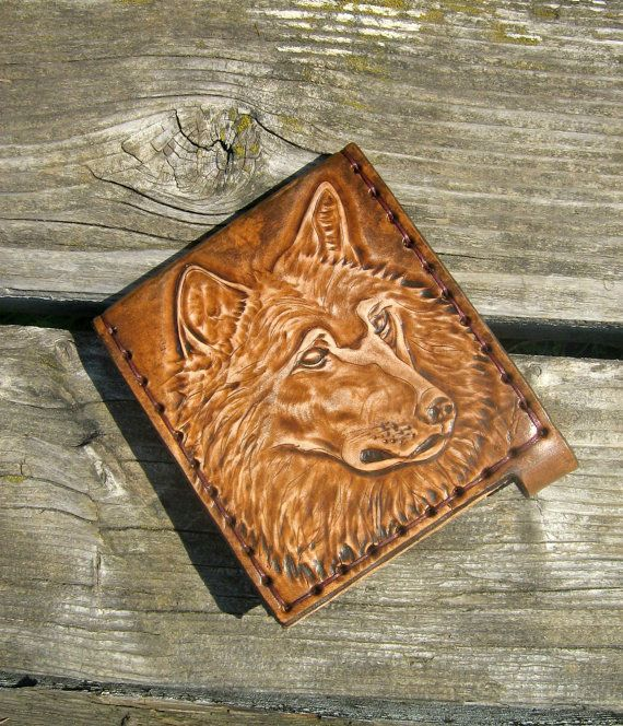 Wolf Wallet Tooled Leather Wallet Leather by LeatherJLboutique