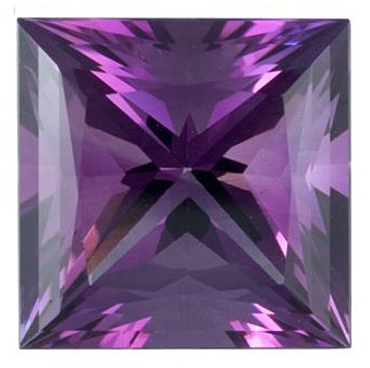 Extremely Rare Large Princess Cut of Exceptional Quality. This Natural Amethyst Gemstone Displays a Rich Purple Lavender Color and Has Been Faceted to a Very High Standard of Proportions, Cut and Symmetry.  This image in no way accurately captures the beauty of this fine gemstone. It must be seen to be fully appreciated.