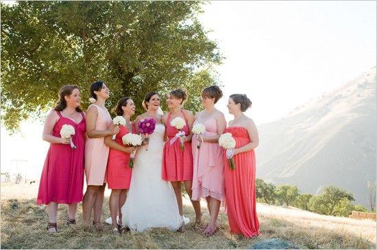 bridesmaids+dresses+short+or+long+together | Weddbook / Others / Pink Wedding / Pink Bridesmaids' Dresses