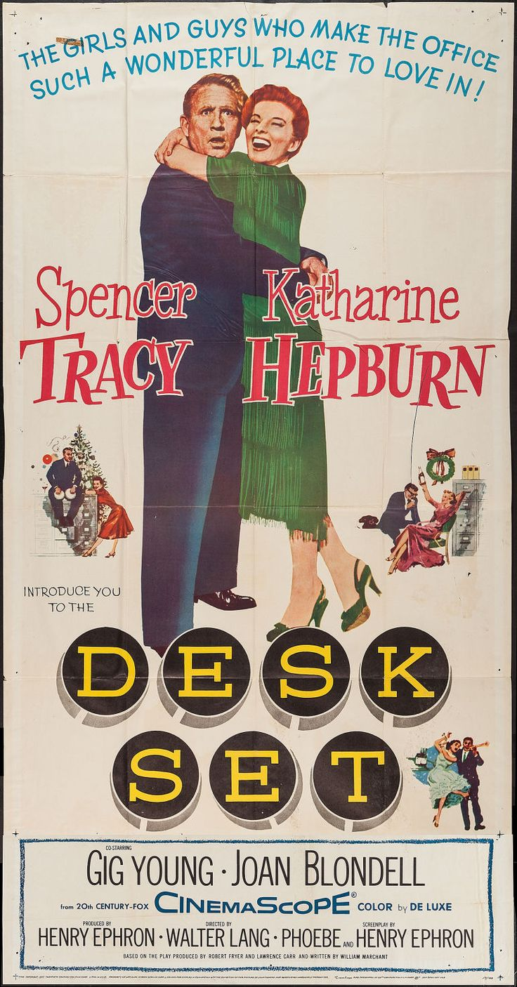 Katharine Hepburn, Spencer Tracy, Gig Young. Director: Walter Lang. IMDB: 7.3 * ________________________ http://en.wikipedia.org/wiki/Desk_Set http://www.rottentomatoes.com/m/desk_set/ http://www.tcm.com/tcmdb/title/72868/Desk-Set/  Article: http://www.tcm.com/tcmdb/title/72868/Desk-Set/articles.html http://www.allmovie.com/movie/desk-set-v13391