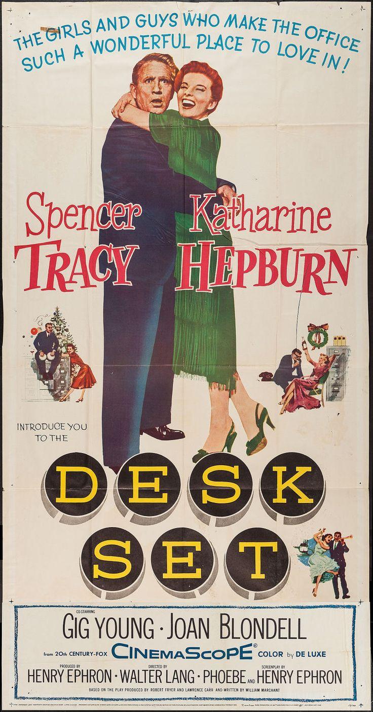 Katharine Hepburn, Spencer Tracy, Gig Young. Director: Walter Lang. IMDB: 7.3 * ________________________ http://en.wikipedia.org/wiki/Desk_Set http://www.rottentomatoes.com/m/desk_set/ http://www.tcm.com/tcmdb/title/72868/Desk-Set/  Article: http://www.tcm.com/tcmdb/title/72868/Desk-Set/articles.html http://www.allmovie.com/movie/desk-set-v13391