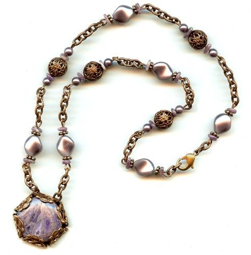 Lavender Melody Necklace Designed By Vicki Lapp. Buy The Beads And Vintaj  Brass Filigree From