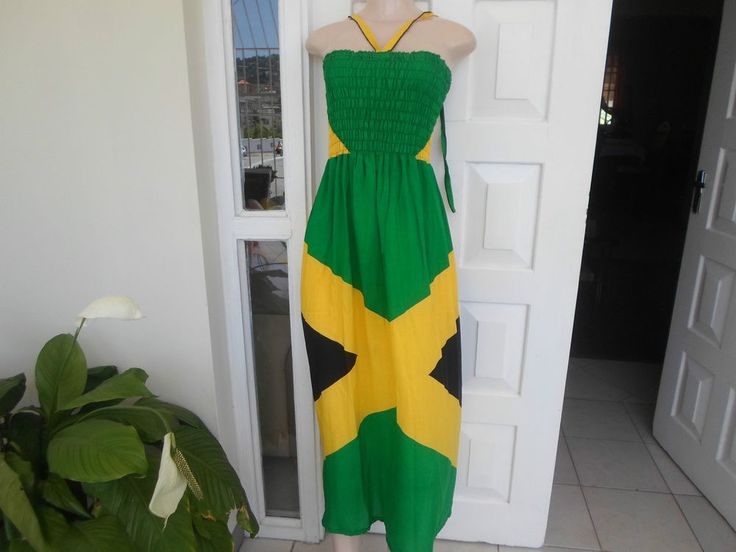Dress Jamaican Flag Color Off Shoulder One Size Homemade 100% Plaid  & Check