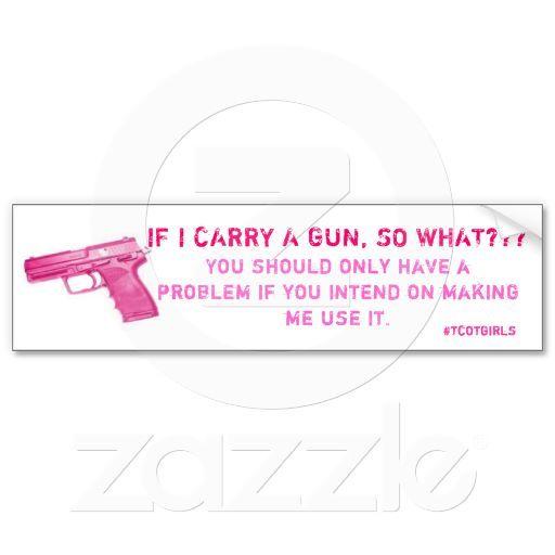 Pink #tcotgirls Gun Bumper Sticker