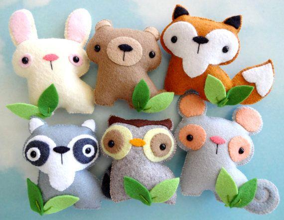 Felt Woodland Animal Set Sewing Pattern por preciouspatterns