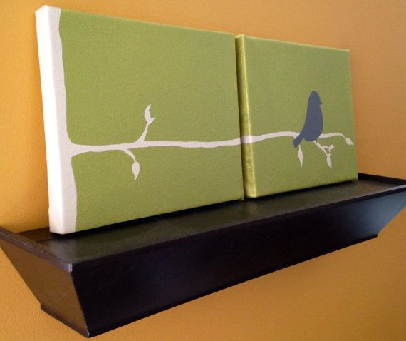 Birdie on a Branch  Hand Painted Canvas Wall by TwoCraftyBirdies, $45.00
