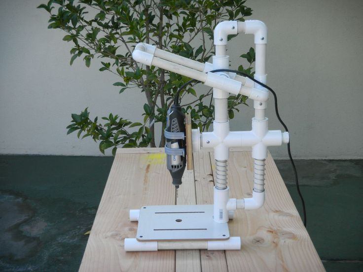 PVC is easy find material. Not only work for plumbing, it also can make many things. Here is how I made a Dremel drill press with PVC. All of the materials could be found in local hardware stores.