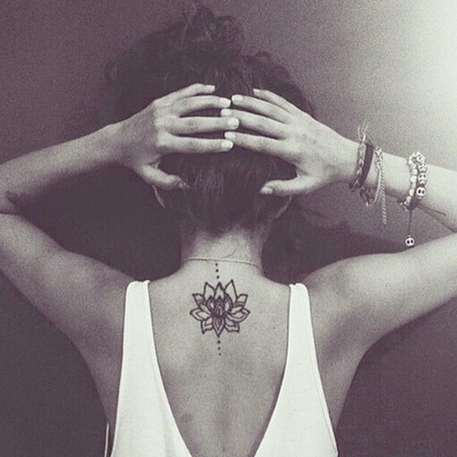 "♡ Pinterest:  @TiffanyEO -  A lotus to represent a new beginning, or a hard time in life that has been overcome and the symbol ""Hum"" from the Buddhist mantra to stand for love, kindness and protection...this symbol is also said to purify hatred and anger."