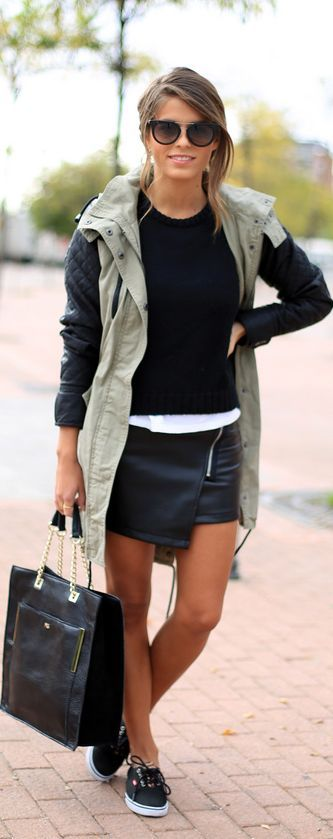 #Black by Seams For a Desire. LOVE this military style vest! Asymmetrical leather skirt vans