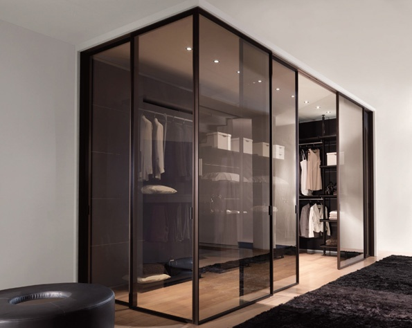 Italian Longhi Closet with champagne tinted doors