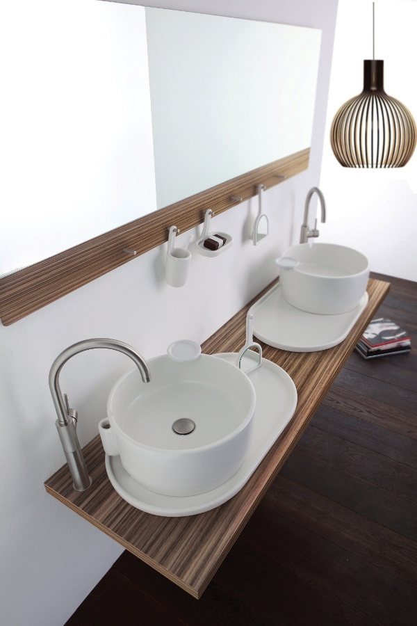Countertop round ceramic washbasin with overflow UKIYO-E by Olympia Ceramica @olympiaceramica