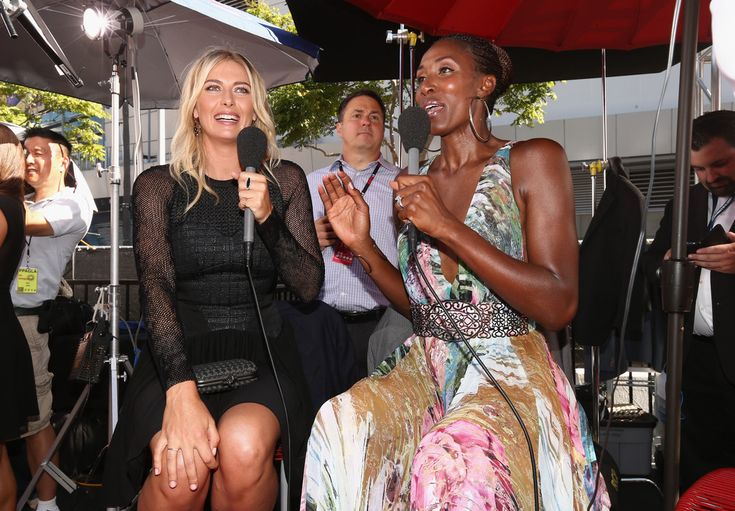 Maria Sharapova Photos: Arrivals at the ESPYS — Part 3. Tennis player Maria Sharapova with former WNBA player Lisa Leslie attends The 2014 ESPYS at Nokia Theatre L.A. Live on July 16, 2014 in Los Angeles, California.