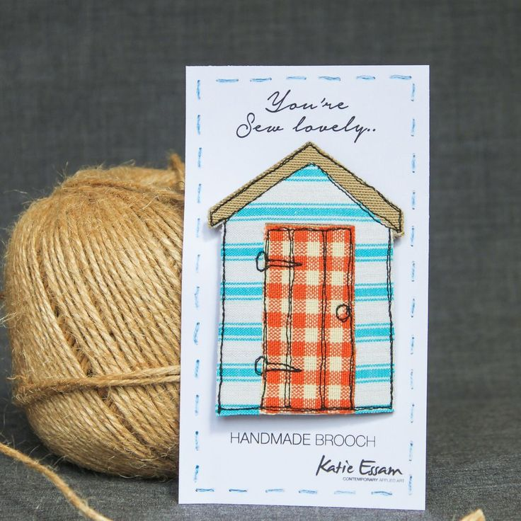 Textile Beach Hut Brooches via Katie Essam. Click on the image to see more!
