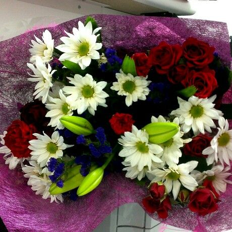 Flowers from my love on my first day back at work