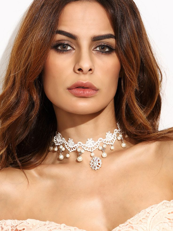 Shop White Faux Pearl Rhinestone Lace Choker Necklace online. SheIn offers White…