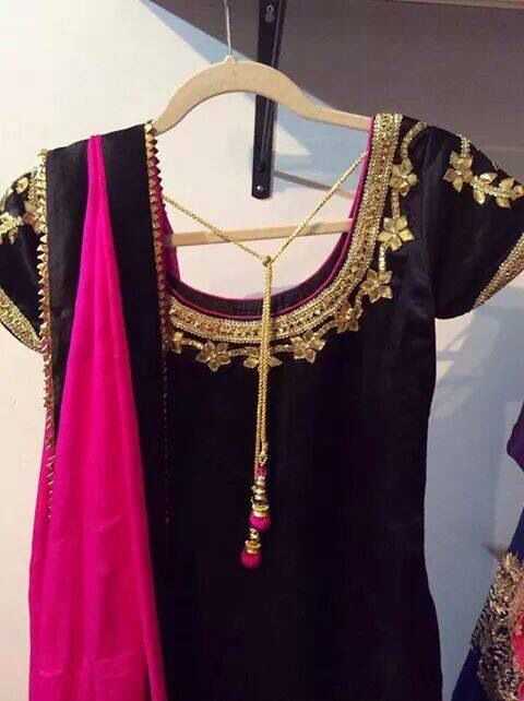 Black And Pink Punjabi Suit With Gold Embroidery Srandhawa