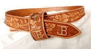 Hand-tooled western leather belts - custom belts - handmade leather cowboy belt…