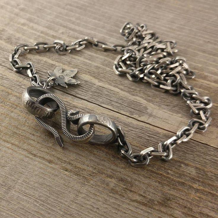 アメリカのヴィンテージコイン10セント銀貨&25セント銀貨からパーツ作成したシルバーチェーン  #chain #silvercoin #coinring #silversmith #hook #silveraccessories #coinjewelry #jewelry #necklace #quarterdollar #dime #vintage