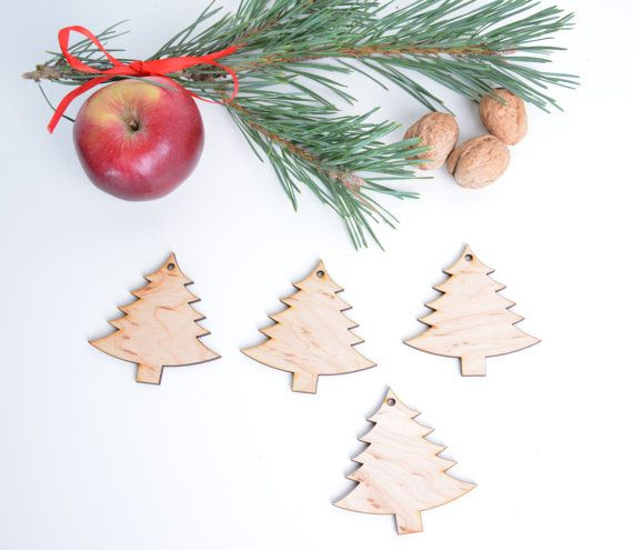 set of 25 wooden Christmas tree shapes, decor, gift packaging winter season holiday shape table tag set, DIY unfinished laser cut cutout