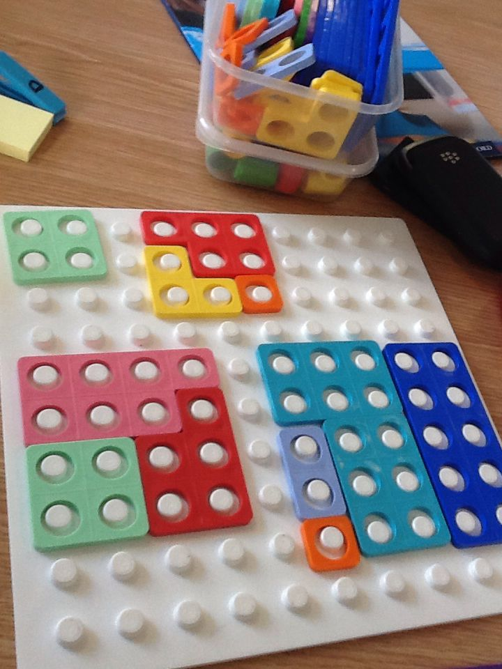 Pieces 1-10 to make a square. The aim of the activity is to use the least number of Numicon pieces to make the square. Very good visual perceptual skills development.