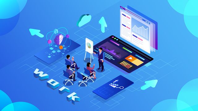2 5d Business Office Data Convenient Stereo Illustration Discuss Illustration Image On Pngtree Free Download On Pngtree Background Templates Image Illustration Powerpoint Design Templates