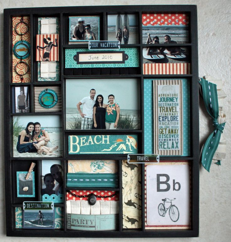 3-D scrapbook of a favorite trip!  love this idea for wall hangings around the house along with in a scrap book