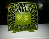 Vintage Mid-century napkin holder corning ware green yellow flowers daisy by RetrospectiveResale on Etsy, $15.00 USD