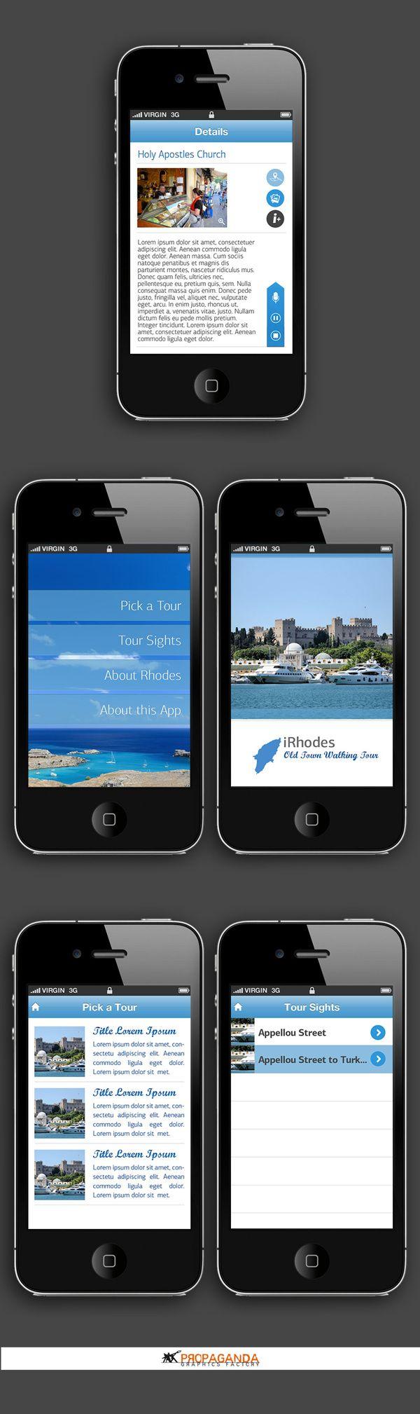 iRhodes - iPhone application • UI/UX by Propaganda Graphics Factory , via Behance #propaganda_apps #iphone #propagandagf #ui #ux #mobileapp #graphicdesign
