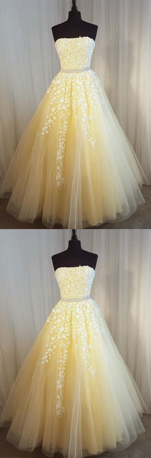 Strapless A-line Tulle Prom Dress Lace Appliques Women