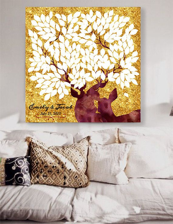 Rustic Wedding guest book with deers Custom Wedding Guestbook Alternative Country Wedding Print Guest Book wedding christmas sparkle gold