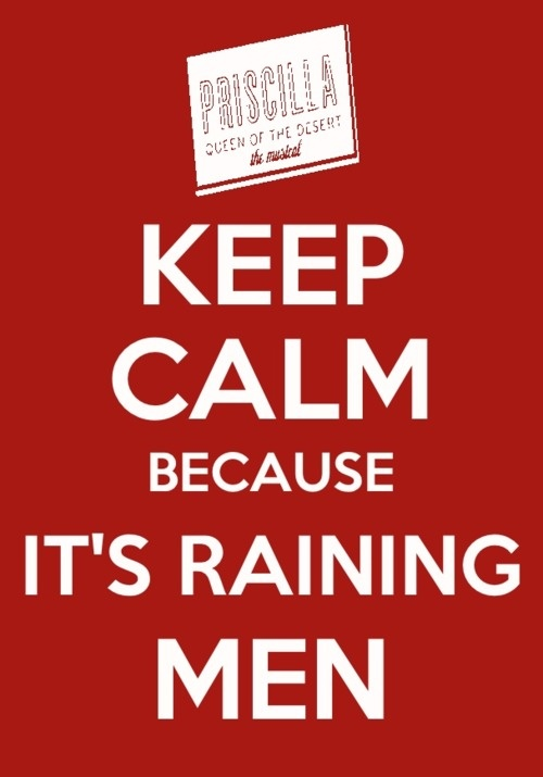 Keep Calm because It's Raining Men!  Pricilla, Queen of the Desert in San Diego October 15-20th!