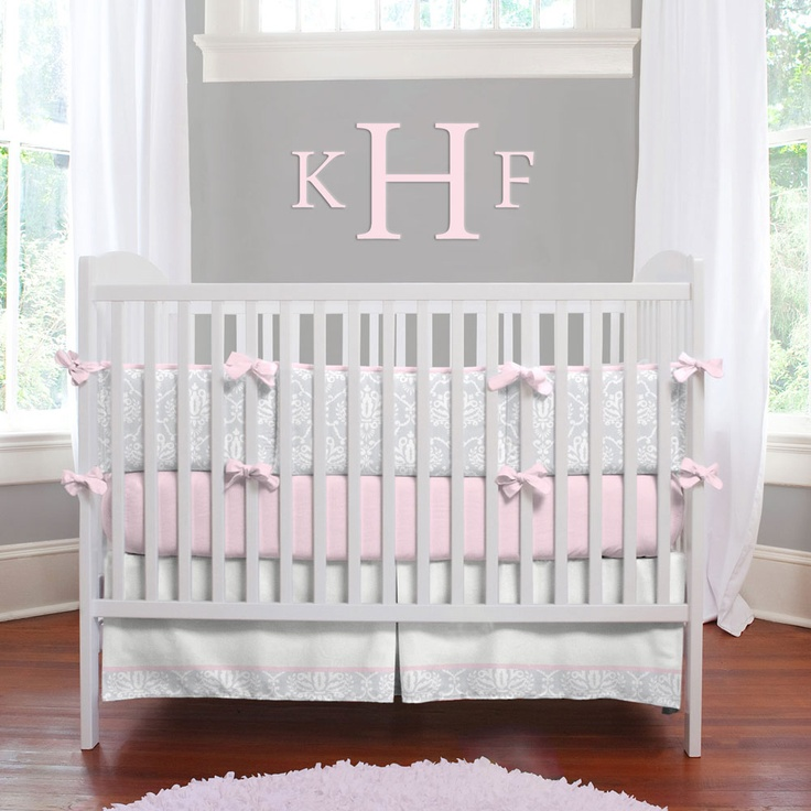 Pink And Gray Nursery Bedding The Image