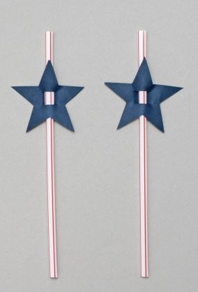 OK....this is way too simple and so cute...change the shape of the cut out for whatever holiday.  These were 4th of July straws.  I think that's a foam sheet that was used...