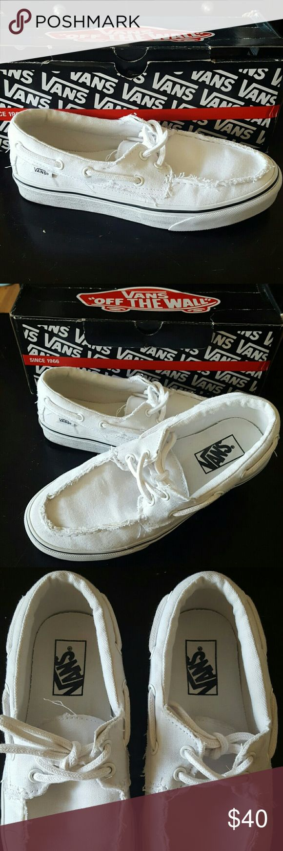 Vans Zapato Del Barco Shoes Women's Size 8, Van's Zapato Del Barco boat shoes.  'True White'. Worn 1x. NO SCUFFS, NO SMUDGES.  Not made in this color any longer. Comes with box. Vans Shoes Sneakers
