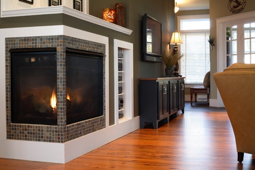 cool corner unit fireplace with inset bookcase