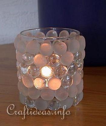Artesanía de Verano - Té votiva de luz con los Nuggets de vidrio: