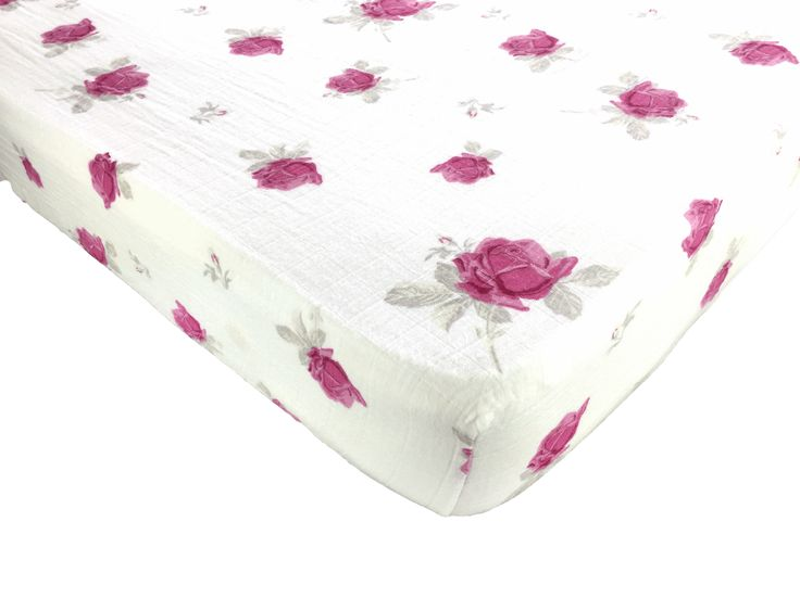 Muslin Cotton Fitted Crib Sheet - Pink Flowers