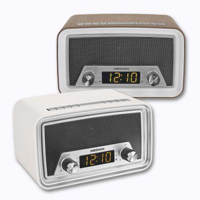 Rádio-relógio Retro - Tecnologia Bluetooth em estilo retro; entrada USB para carregamento do smartphone; visor LED; despertador por rádio ou alarme; sortido