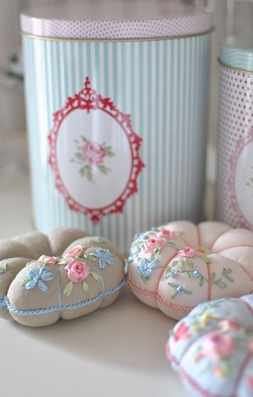 Beautiful ribbon embroidery on these little pin cushions, by Atelier Lavanda Color scheme like tea cups