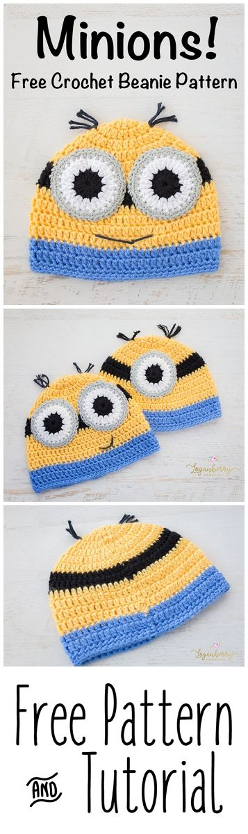 Crochet Minions Beanie + Free Pattern + Tutorial, Despicable Me, crochet hat for kids, boys, girls, yellow and blue, cartoon beanie, easy, quick, free