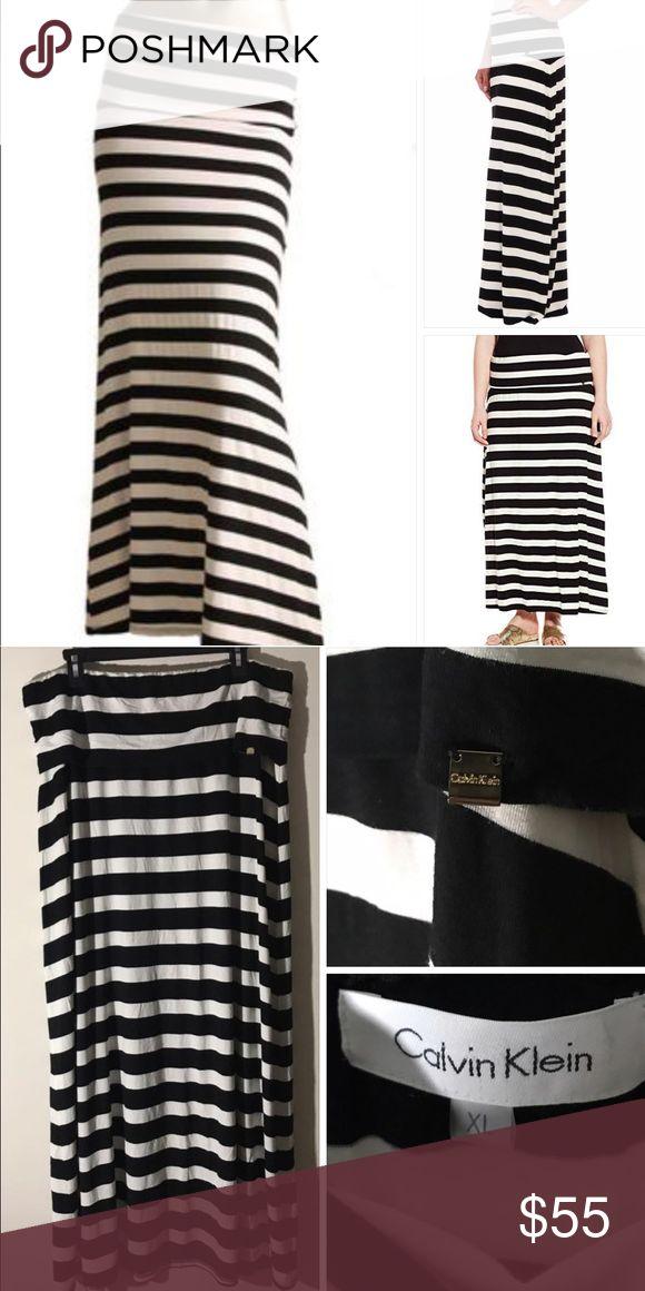 Calvin Klein Wide Stripe Jersey Maxi Skirt XL Never Worn. Black/White Striped Skirt. Size XL.  Fold over Waistband. Calvin Klein Skirts Maxi